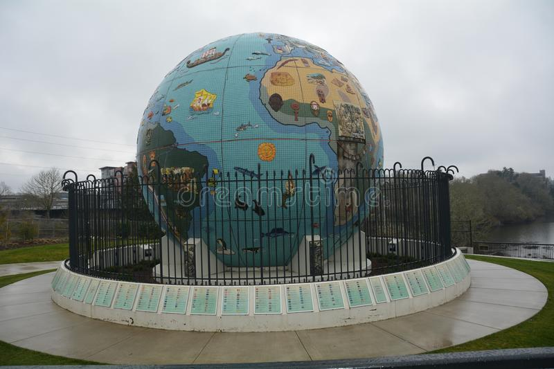 Eco-Earth Globe in Salem, Oregon. This is an outdoor sculpture depicting a globe, located in Riverfront Park in Salem, Oregon, in the United States. The globe royalty free stock image