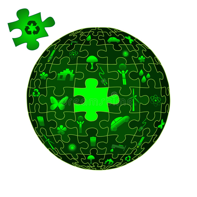 Eco Earth in puzzle pieces royalty free illustration