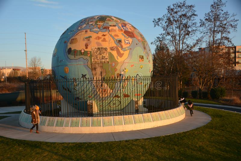 Waterfront Park Globe at Sunset in Salem, Oregon. Eco-Earth was created in 2003, following almost five years of community volunteer support from a local royalty free stock image