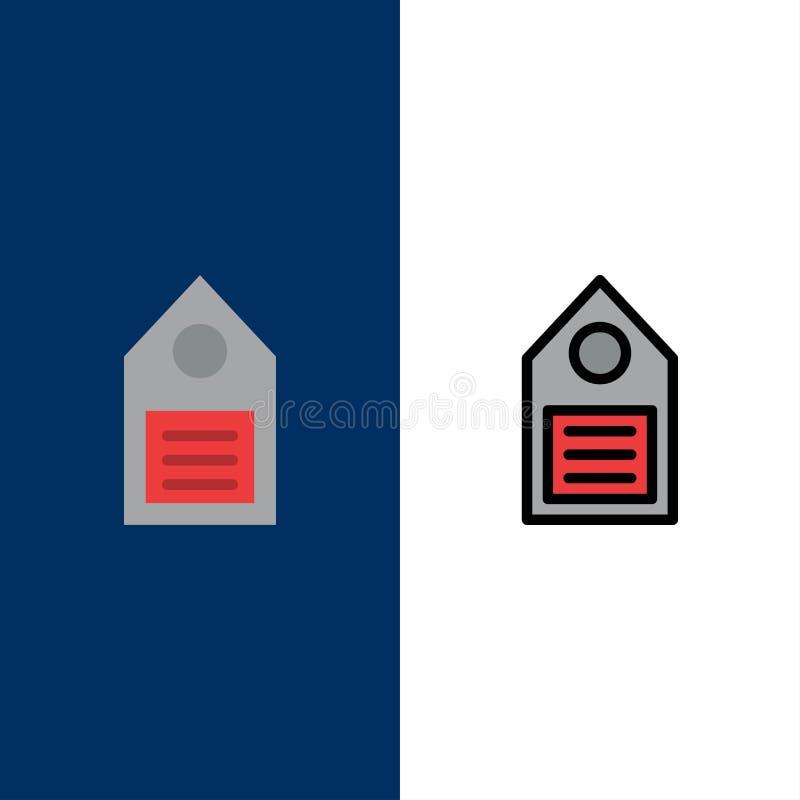 Eco, ecologia, ambiente, etichetta, icone dell'etichetta Il piano e la linea icona riempita hanno messo il fondo blu di vettore royalty illustrazione gratis
