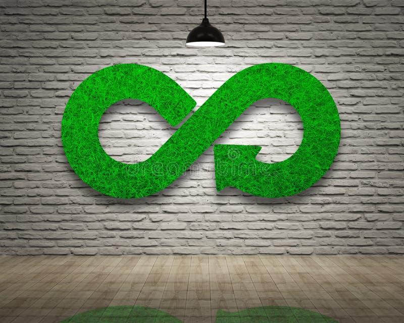 ECO, economía circular, símbolo de la flecha del infinito de la hierba verde, pared de ladrillos imágenes de archivo libres de regalías