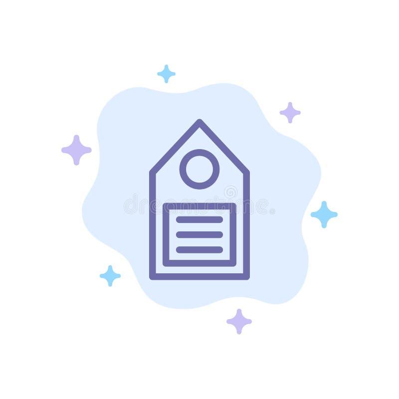 Eco ekologi, miljö, etikett, blå symbol för etikett på abstrakt molnbakgrund stock illustrationer