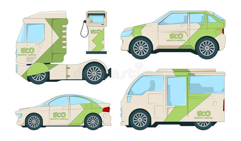 Eco electric automobiles. Cartoon ecological transport on white royalty free illustration