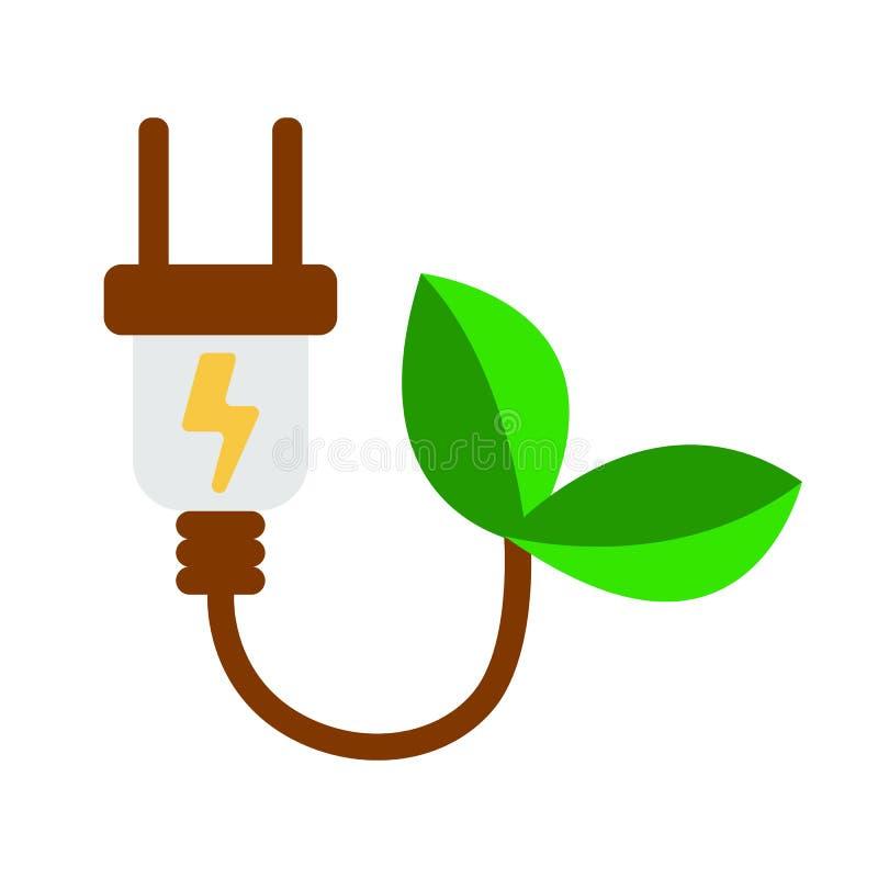 ECO elektrów Wtyczkowa ikona Energetyczna etykietka dla sieci na białym tle ilustracja wektor