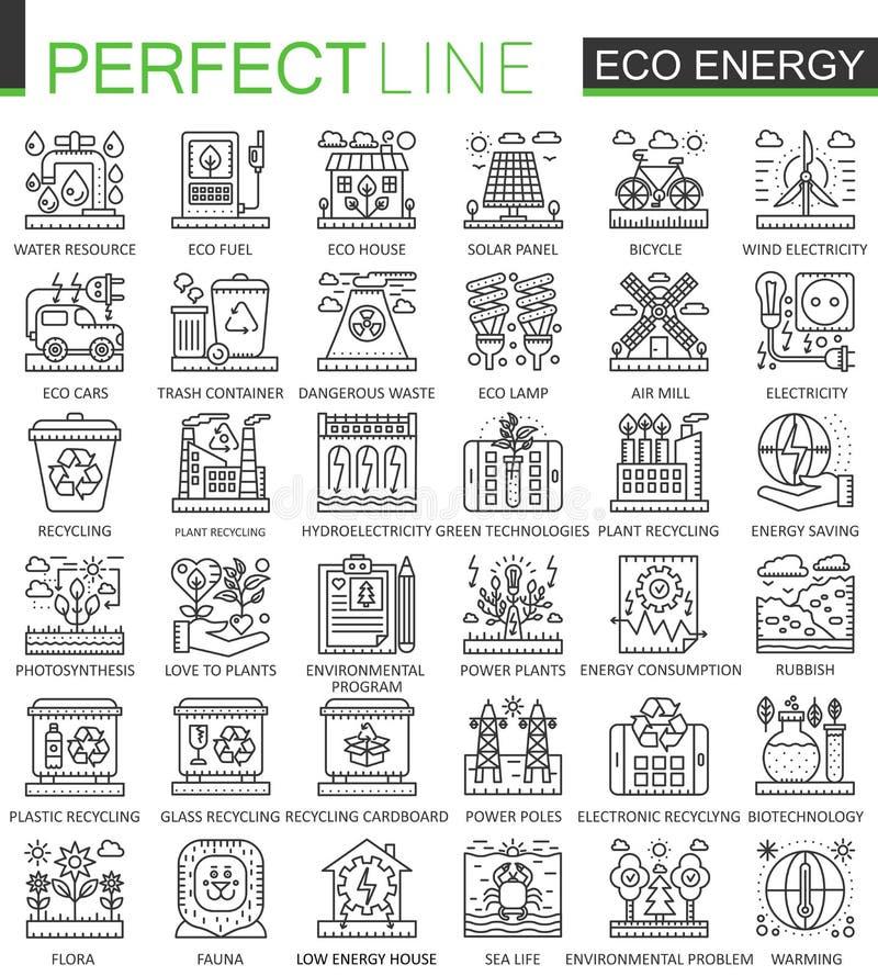 Eco energetycznego konturu pojęcia mini symbole Odnawialnego zielonego technologii nowożytnego uderzenia liniowe stylowe ilustrac ilustracji