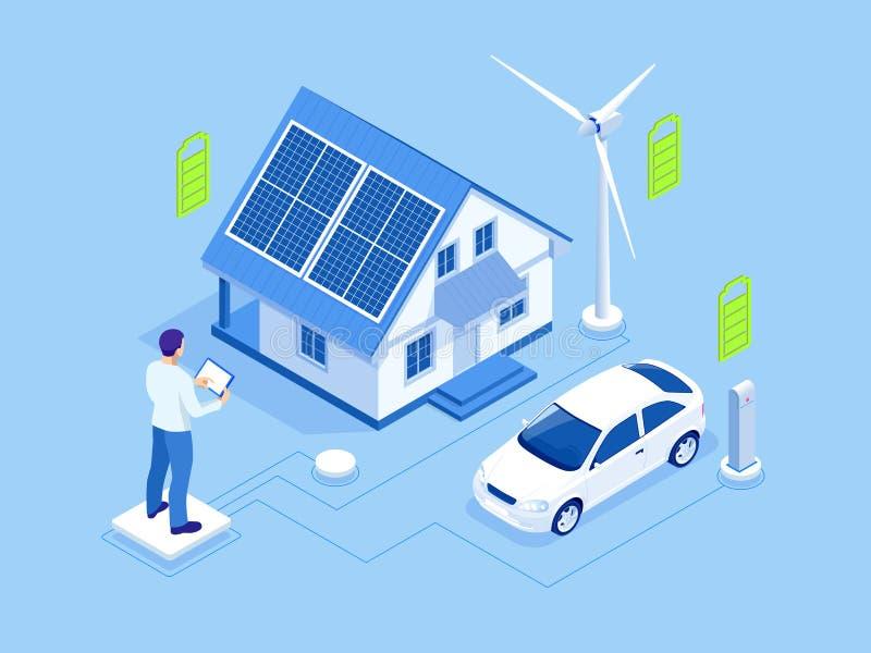 Eco energi och ekologibegrepp Grön energi ett vänligt modernt hus för eco Sol- förnybara energikällor och vindkraft royaltyfri illustrationer