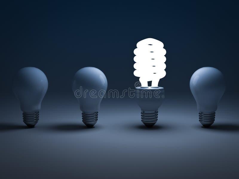 Eco energi - sparande ljus kula vektor illustrationer