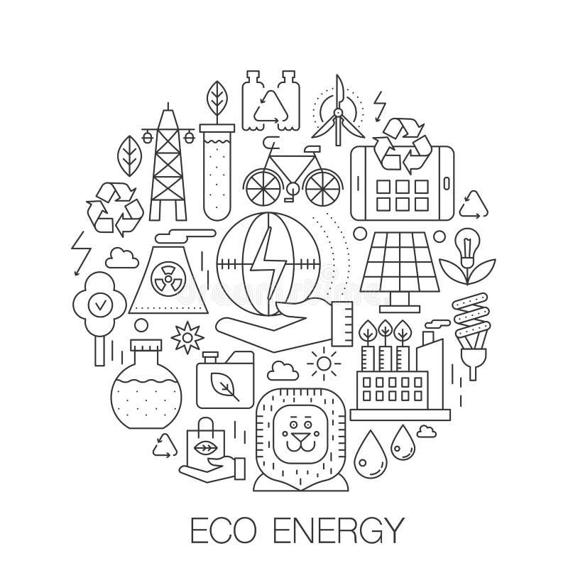 Eco energia w okręgu - pojęcie kreskowa ilustracja dla pokrywy, emblemat, odznaka Zielone energgy cienkie kreskowe uderzenie ikon royalty ilustracja