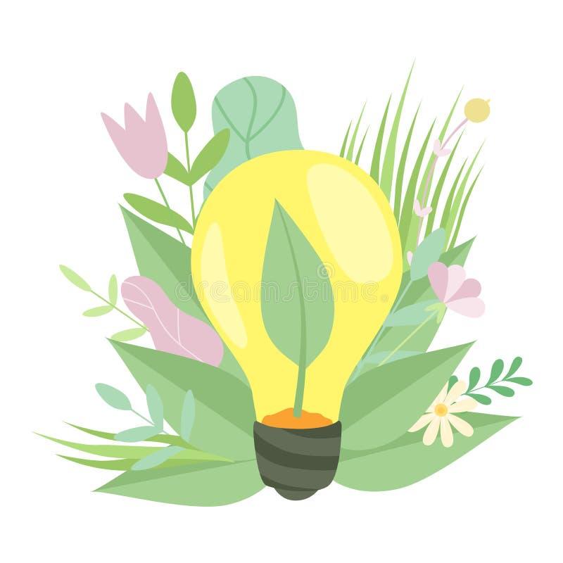 Eco-Energie, Glühlampe mit der wachsenden Anlage inneres, grünes Gras und Blumen, Umweltschutz, Ökologie-Konzept lizenzfreie abbildung