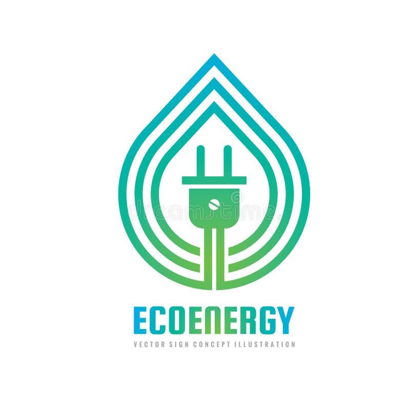 Eco-Energie - Konzeptlogoschablonen-Vektorillustration Kreatives Zeichen des ökologischen Klimaökostroms Naturblattzusammenfassun stock abbildung