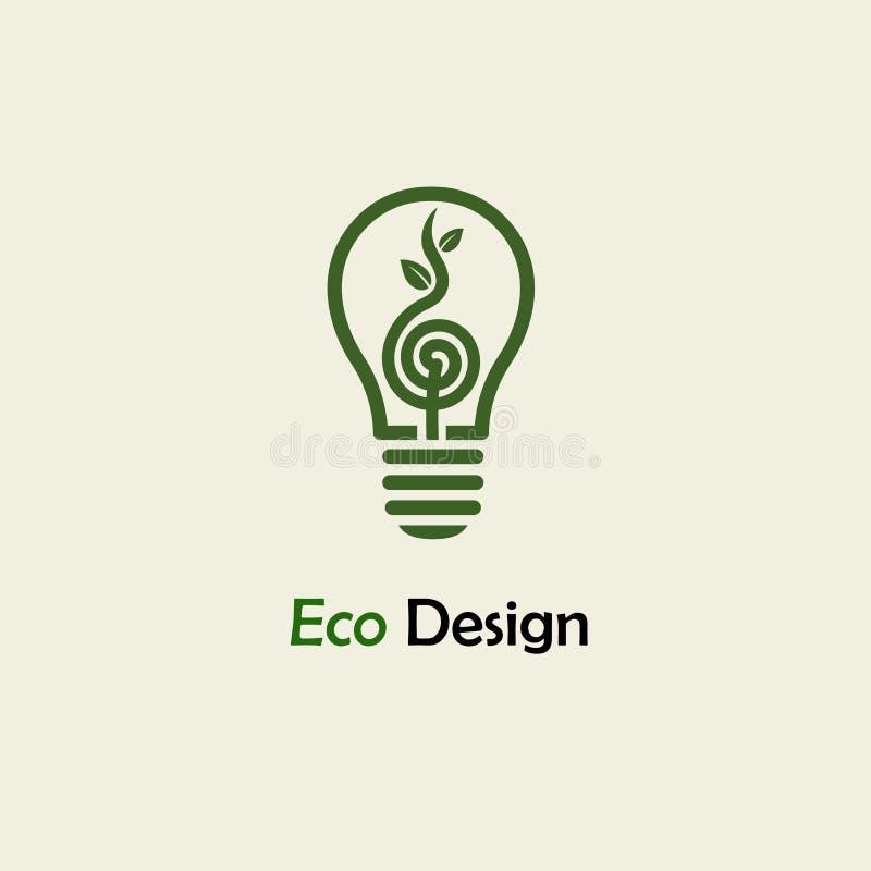 Eco Energie Symbolische Sprösslingsbetriebsspirale und -glühlampe Schablone für die Schaffung von Logos vektor abbildung