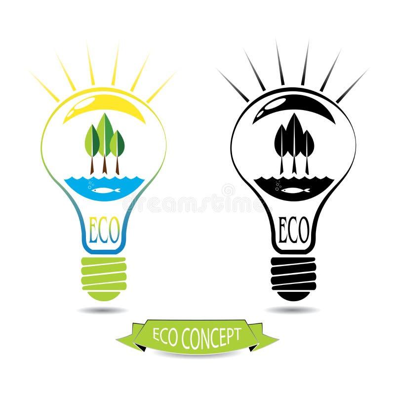 ECO Energiekonzept, natürliche Energiequellen innerhalb der Glühlampe vektor abbildung