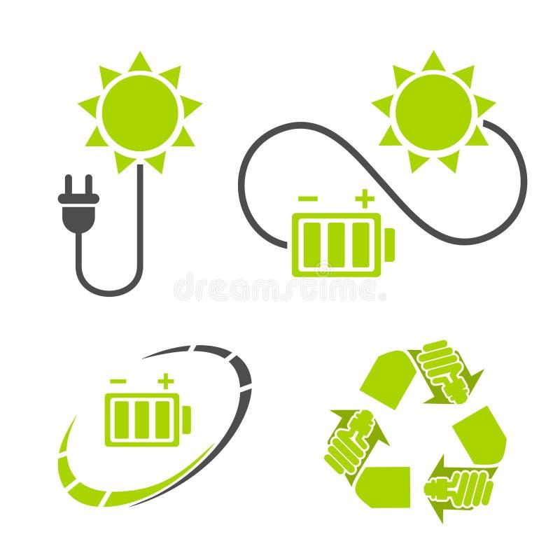 Eco energilogo Återanvänd energi - besparingsymboler stock illustrationer