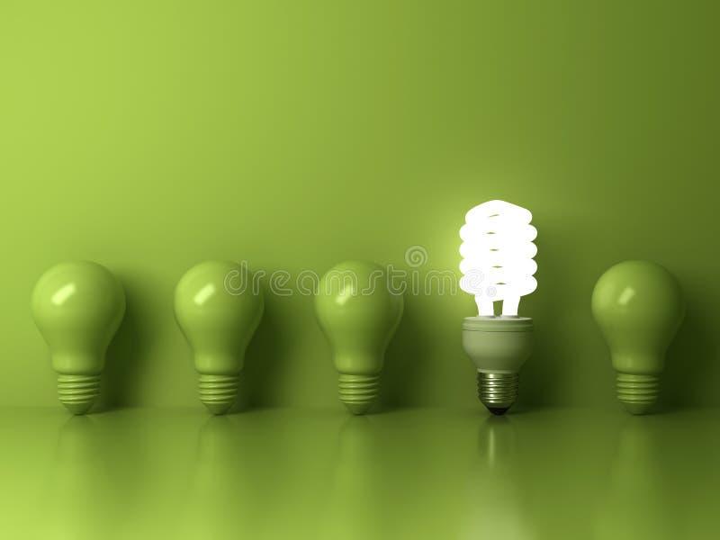 Eco energooszczędna żarówka, jeden rozjarzony ścisły fluorescencyjny lightbulb stoi out od unlit płonącego żarówki odbicia royalty ilustracja