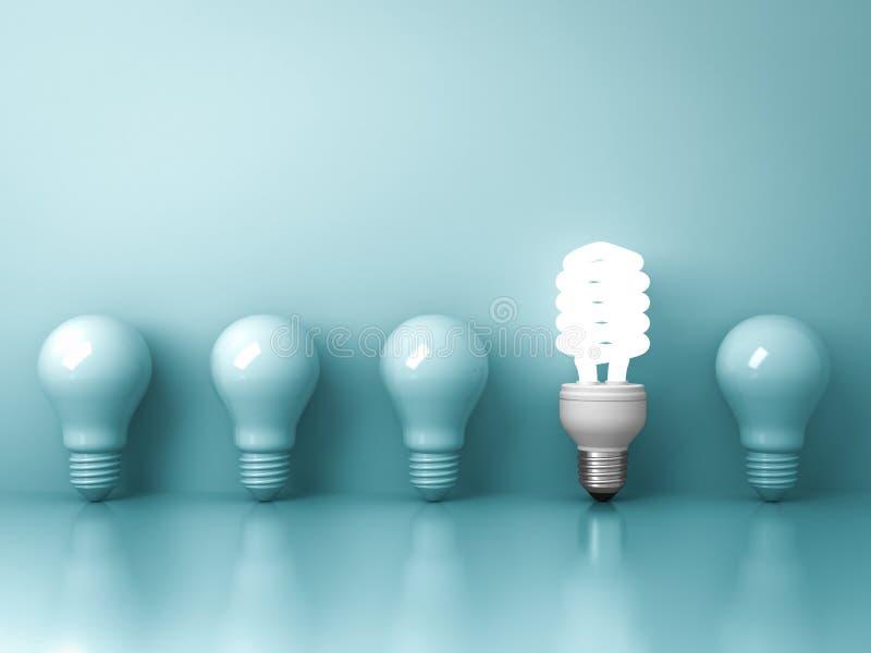 Eco energooszczędna żarówka, jeden rozjarzony fluorescencyjny lightbulb stoi out od unlit płonącego żarówki odbicia na zieleni ilustracji
