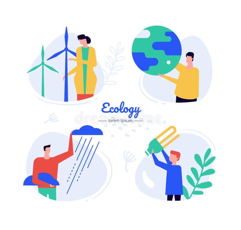 Eco energy - flat design style vector characters set. Windmill, wind turbines, renewable resources, alternative energy generation illustrations. Ecology stock illustration