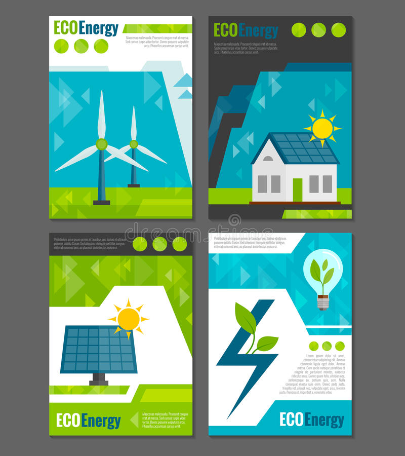 Eco energy icons poster royalty free illustration