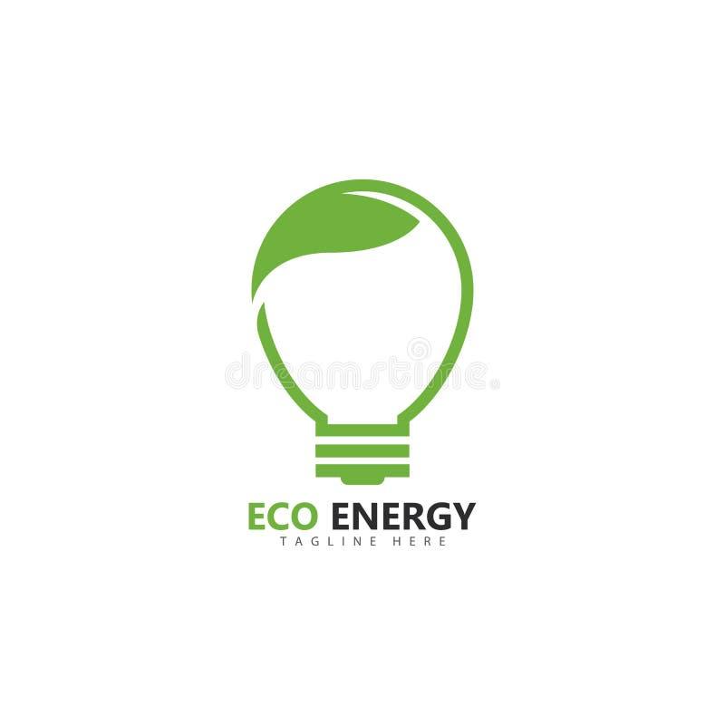 Eco energy logo template vector icon illustration. Design, branding, corporate, smart, unique, solar, fresh, thunder, powerful, lightning, shape, electricity royalty free illustration