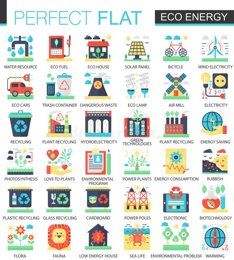 Eco energy vector complex flat icon concept symbols for web infographic design. stock illustration