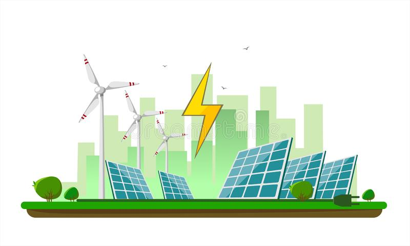 Vector illustration of clean electric energy from renewable sources sun and wind on white. Power plant station buildings with sola. R panels and wind turbines on vector illustration