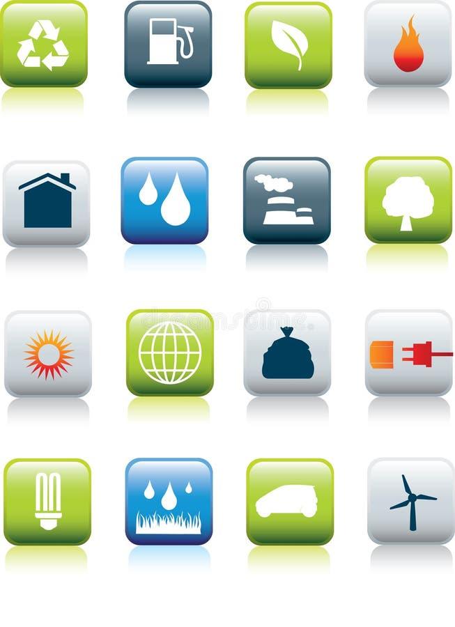 Eco environment icon set stock illustration