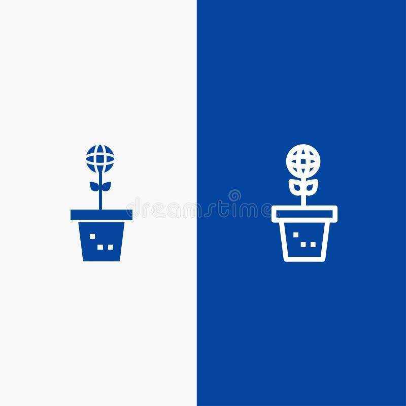 Eco, Environment, Mold, Nature, Plant Line и Glyph Solid icon Синяя баннерная линия и Глиф Solid icon Синий флаг бесплатная иллюстрация