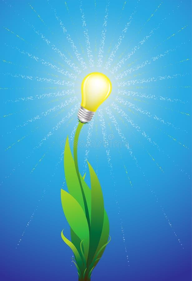 Eco esverdeia o conceito da energia, planta com brilho da ampola como o projeto da energia renovável ilustração royalty free