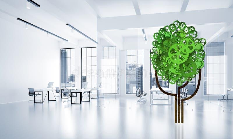 Eco esverdeia o conceito do ambiente apresentado pela árvore como o mecanismo ou o motor de trabalho fotografia de stock royalty free