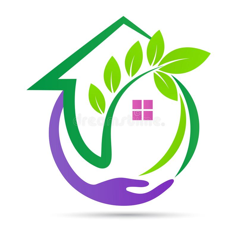 Eco esverdeia o projeto home da segurança do ambiente do logotipo do cuidado ilustração royalty free