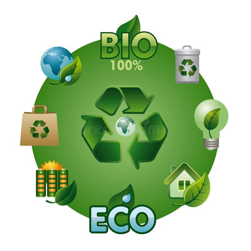 Eco et bio ensemble d'icône illustration de vecteur