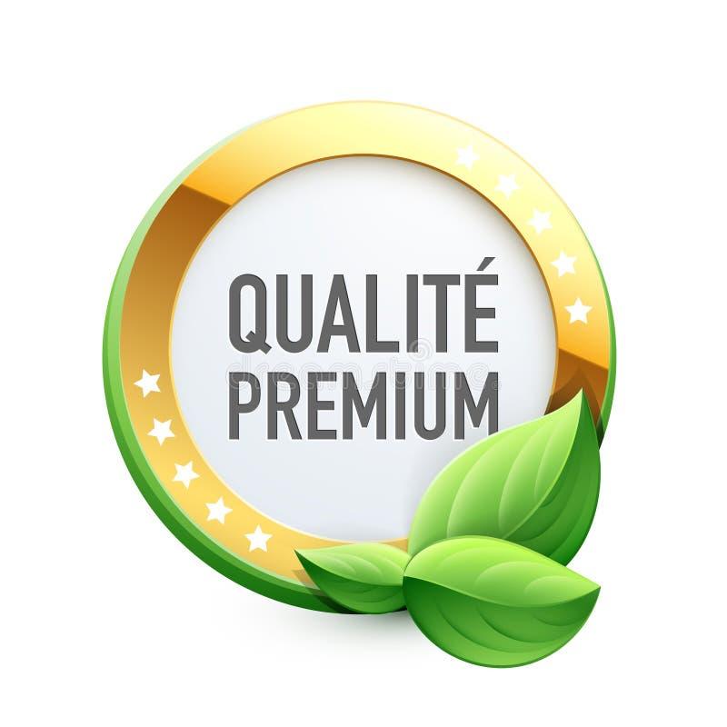 Eco etikett Högvärdig kvalitet i franskt: Högvärdiga Qualité stock illustrationer