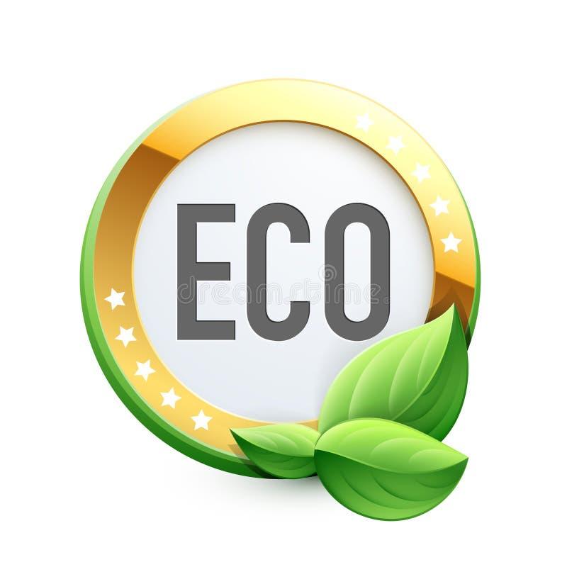 Eco etikett med gröna sidor stock illustrationer