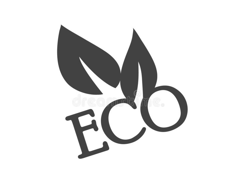 Eco etikett med sidor i svartvitt Plan symbol Ren design stock illustrationer