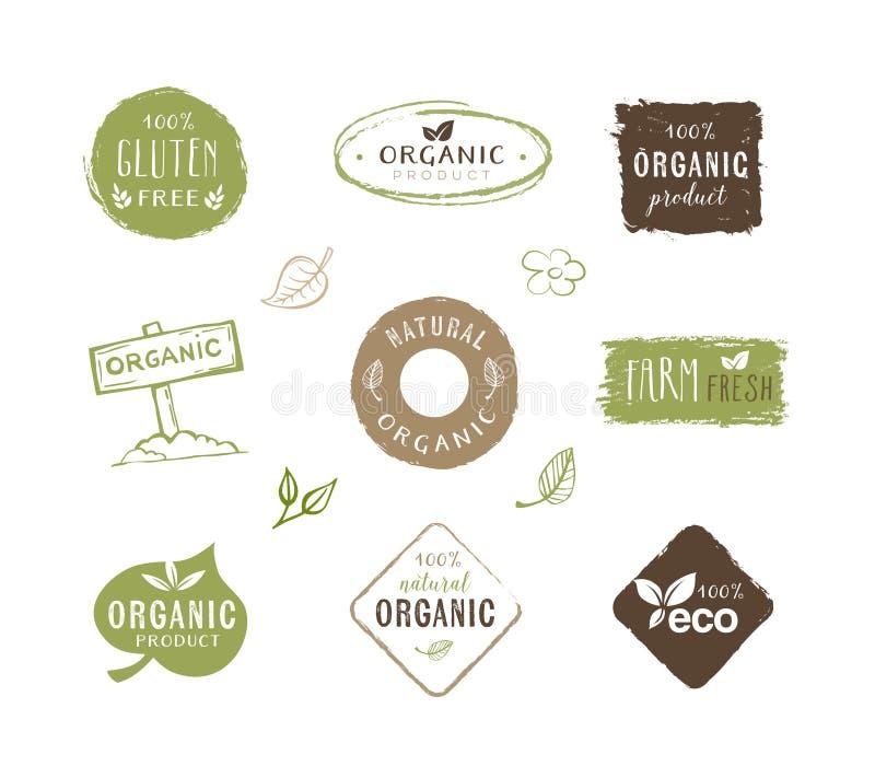 Eco etiketter - klistermärkear, sund livsstil royaltyfri illustrationer