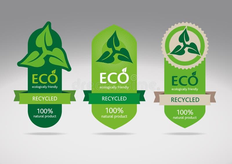 eco etykietka przetwarza set royalty ilustracja