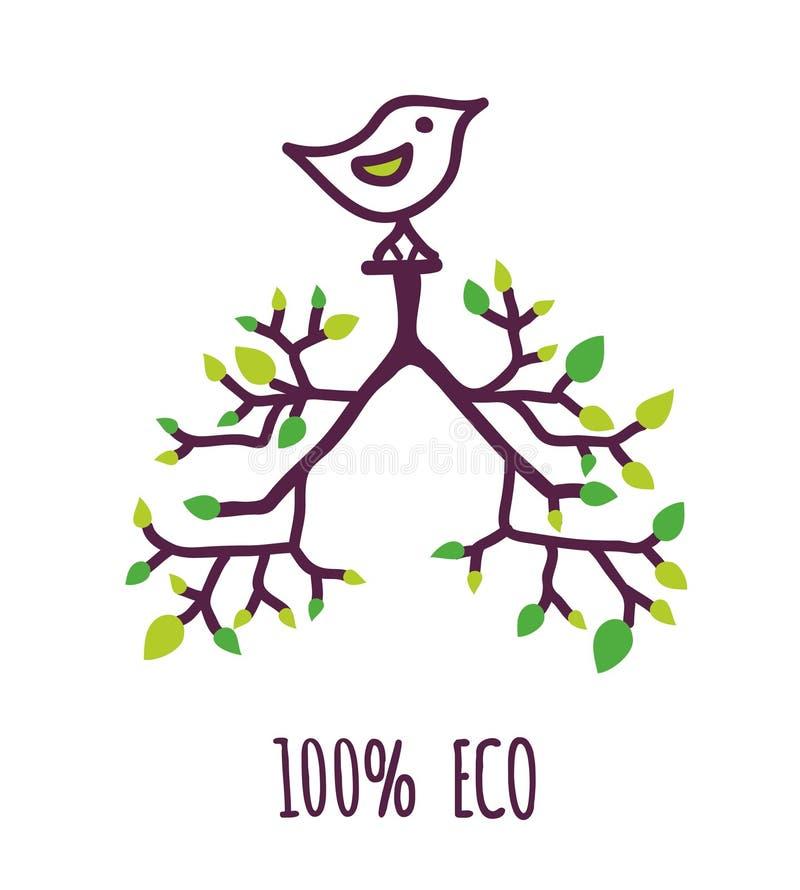 Eco etykietka z drzewem, liśćmi i ptakiem, znak dla naturalnego lub życiorys produktu również zwrócić corel ilustracji wektora ilustracji