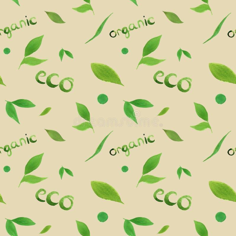 Eco för blad för sömlös modell för vattenfärg enkel grön, organiskt begrepp som märker på beige bakgrund royaltyfri illustrationer