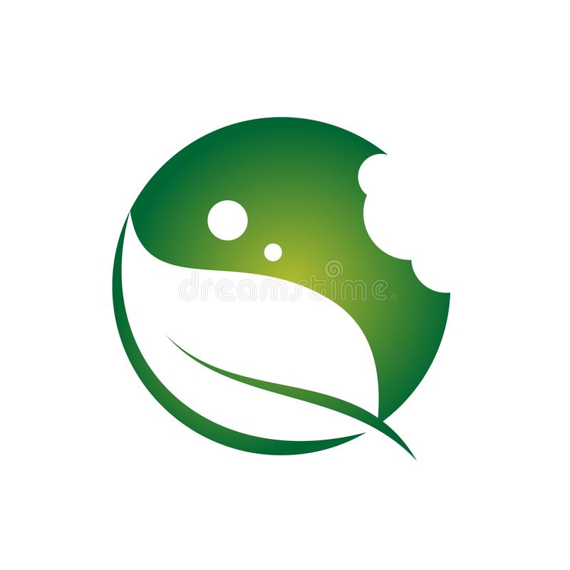 Eco för tugga för mat för blad för cirkelgräsplannatur symbol royaltyfri illustrationer