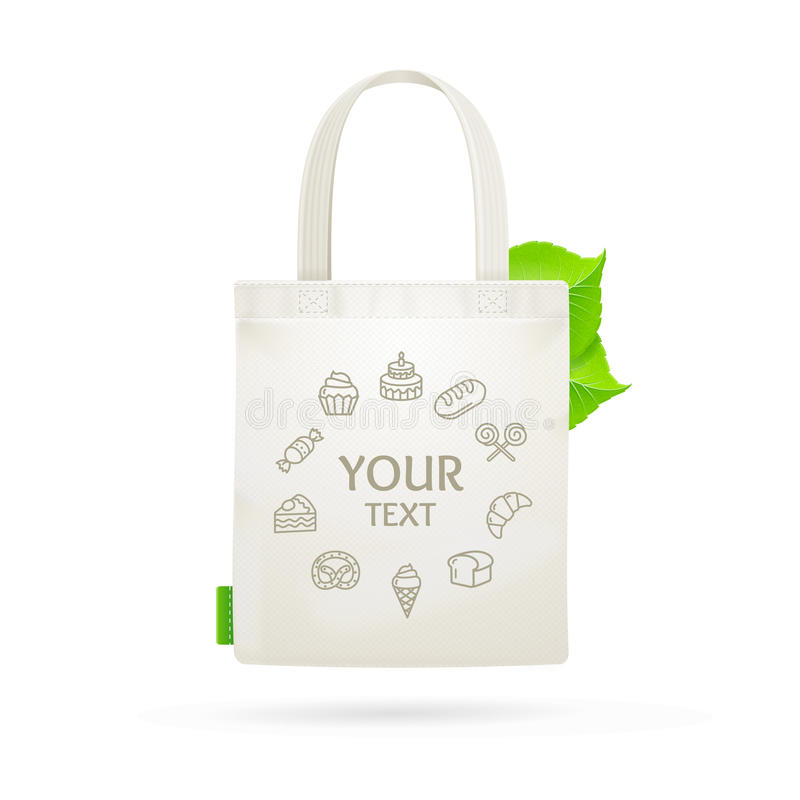 Eco Fabric Cloth Bag Tote. Vector royalty free illustration