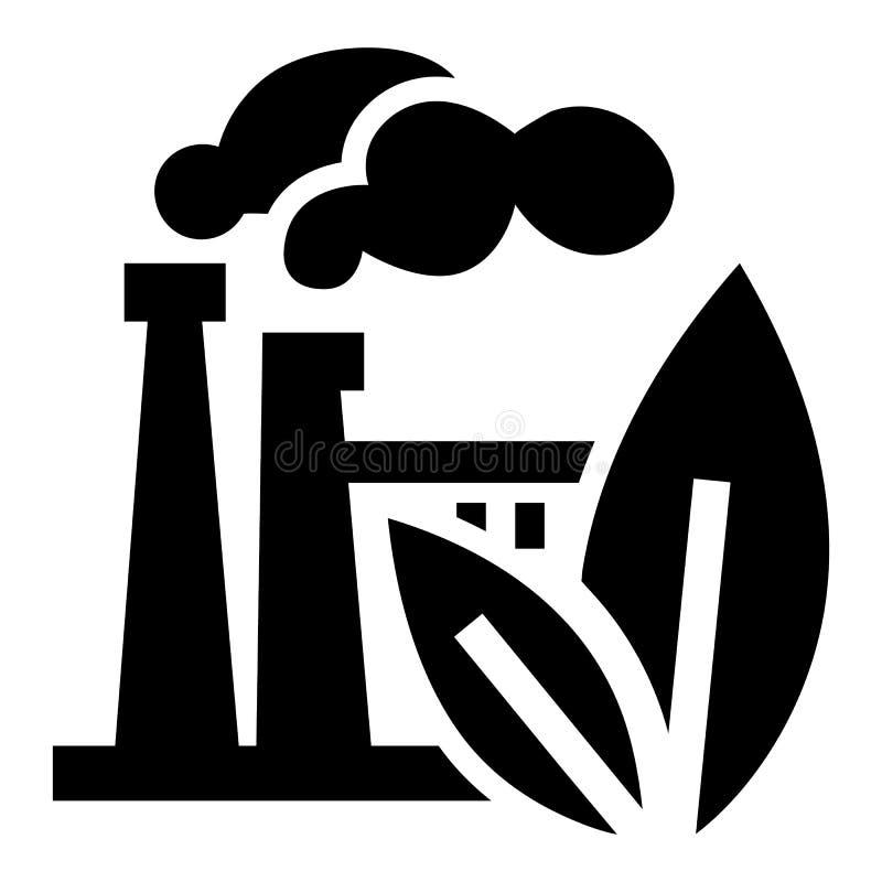 Eco fabrikssymbol, enkel stil stock illustrationer