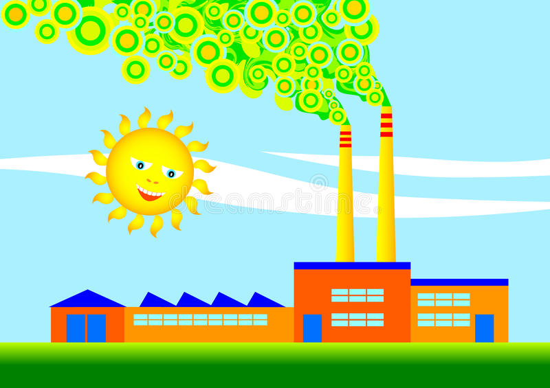 Eco-factory. Orange factory with two chimneys