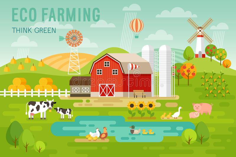 Eco Farming concept with house and farm animals. vector illustration