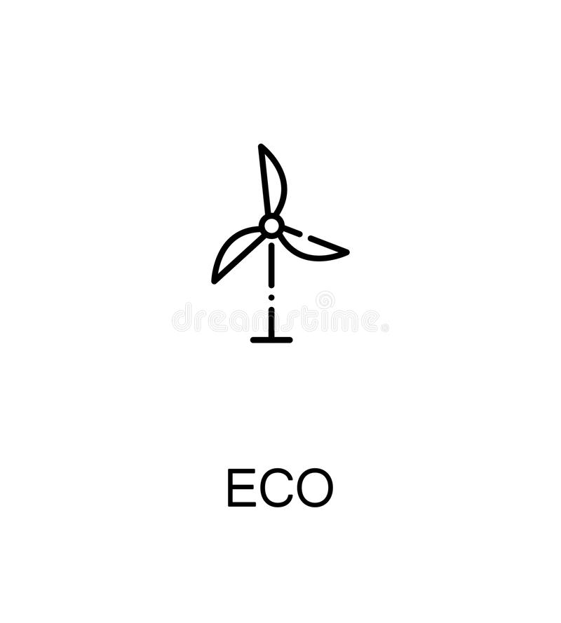 Eco flat icon. Eco cloud icon. Single high quality outline symbol for web design or mobile app. Thin line sign for design logo. Black outline pictogram on white royalty free illustration