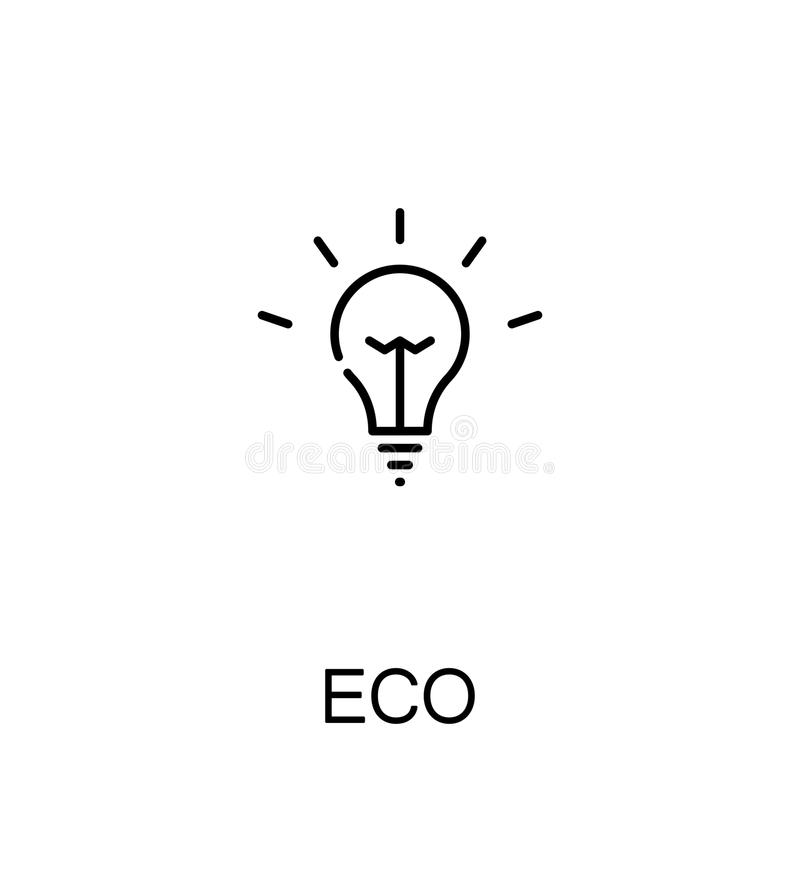 Eco flat icon. Eco cloud icon. Single high quality outline symbol for web design or mobile app. Thin line sign for design logo. Black outline pictogram on white vector illustration