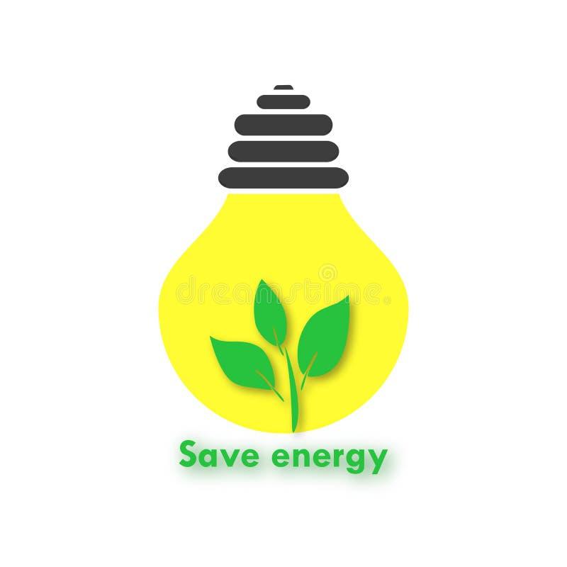 Eco-fondo con un bulbo de la luz ámbar y una rama Energía de la reserva de la muestra ilustración del vector