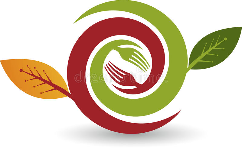 Eco food logo. Illustration art of a Eco food logo with background stock illustration
