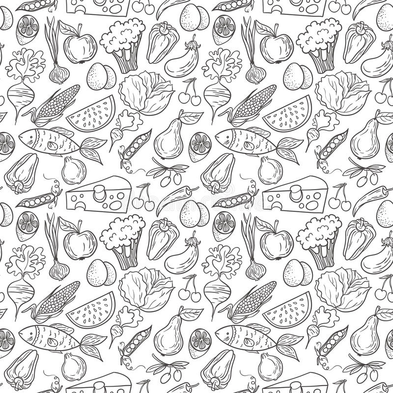 Download Eco food pattern stock vector. Image of cabbage, drawing - 62352830