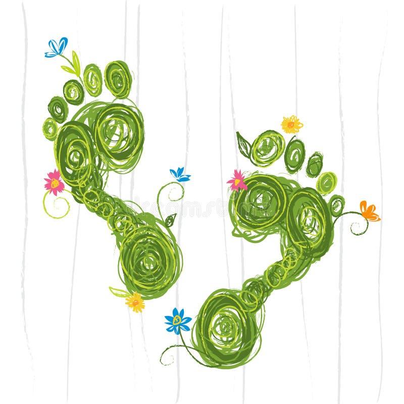 Eco fotspår stock illustrationer