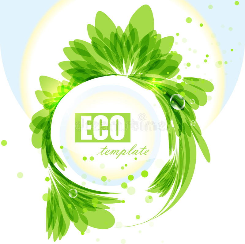Eco frame, green abstract background. Leaves border royalty free illustration