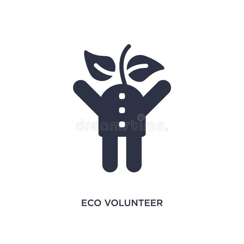 eco freiwillige Ikone auf weißem Hintergrund Einfache Elementillustration vom Ökologiekonzept stock abbildung